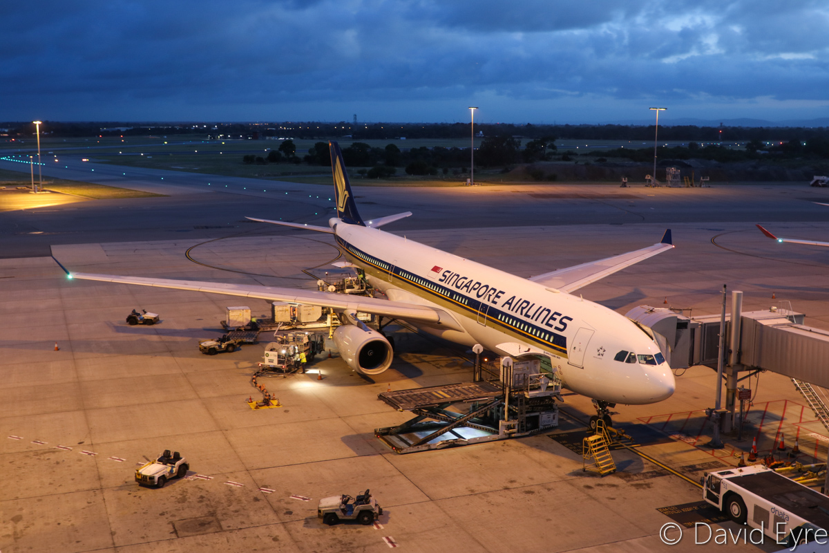 9V-STQ Airbus A330-343X (MSN 1149) of Singapore Airlines, at Perth Airport – Wed 22 March 2017. Flight SQ224 to Singapore, parked at Bay 153 at 6:02am - it departed at 6:45am. Photo © David Eyre