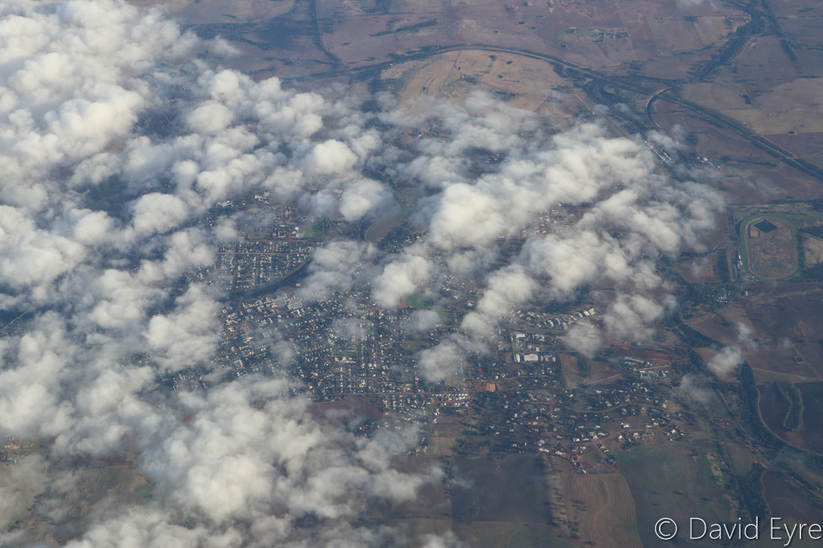 Northam, east of Perth, seen from VH-YFW Boeing 737-8FE (MSN 41037/5978) of Virgin Australia, named 'Turquoise Bay' – Wed 22 March 2017. View facing NNW at around 21,000 feet on flight VA1849 from Perth to Kalgoorlie at 7:22am. The Avon River can be seen passing through the town centre, just left of centre in this photo, with Northam Racecourse at far right and Northam Airport close to it. Photo © David Eyre