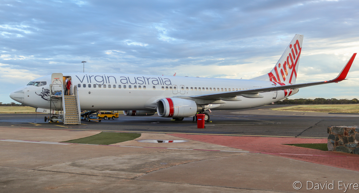 VH-BZG Boeing 737-8FE (MSN 37822/3355) of Virgin Australia, named 'Vivonne Bay', at Kalgoorlie-Boulder Airport – Wed 22 March 2017. Arrived at 5:14pm as flight VA1855 from Perth, see here at Stand 1 at 5:26pm. Departed as VA1858 back to Perth at 6:03pm (took off 6:20pm). Photo © David Eyre