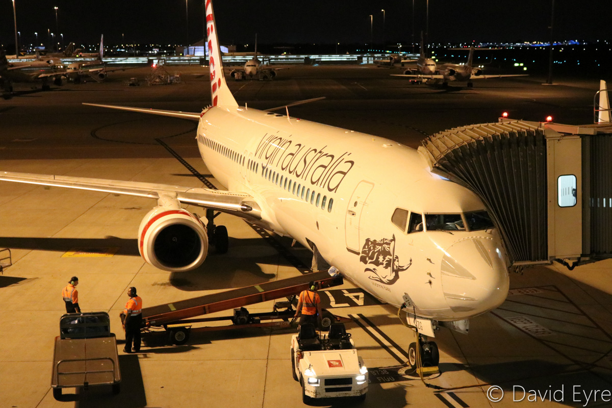 VH-BZG Boeing 737-8FE (MSN 37822/3355) of Virgin Australia, named 'Vivonne Bay', at Perth Airport – Wed 22 March 2017. Flight VA1858 parked at Bay 147A at 7:37pm, after arriving from Kalgoorlie. Photo © David Eyre