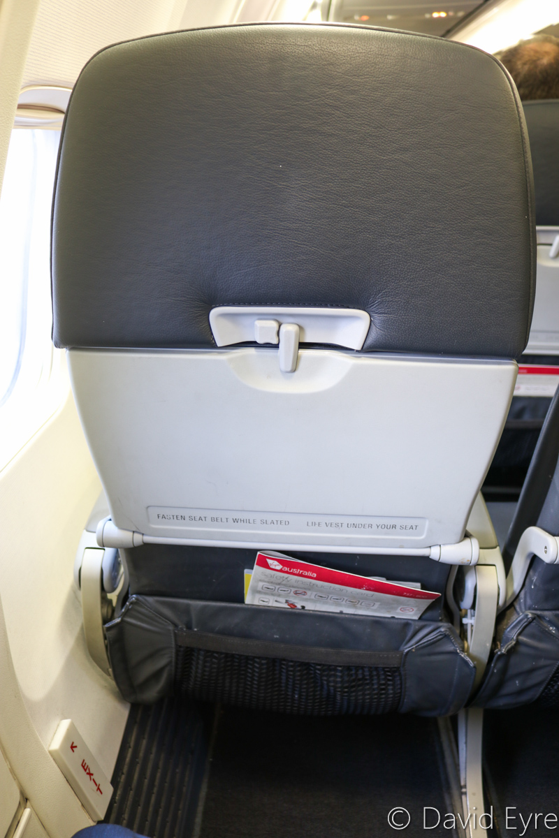 Seat 13A aboard VH-BZG Boeing 737-8FE (MSN 37822/3355) of Virgin Australia, named 'Vivonne Bay', at Kalgoorlie-Boulder Airport – Wed 22 March 2017. My seat 13A. the forward overwing exit seat on the left side. Flight VA1858 back to Perth. Photo © David Eyre