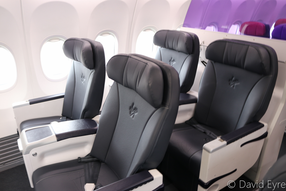 Business Class seats aboard VH-YFW Boeing 737-8FE (MSN 41037/5978) of Virgin Australia, named 'Turquoise Bay', at Kalgoorlie-Boulder Airport – Wed 22 March 2017. Photo © David Eyre