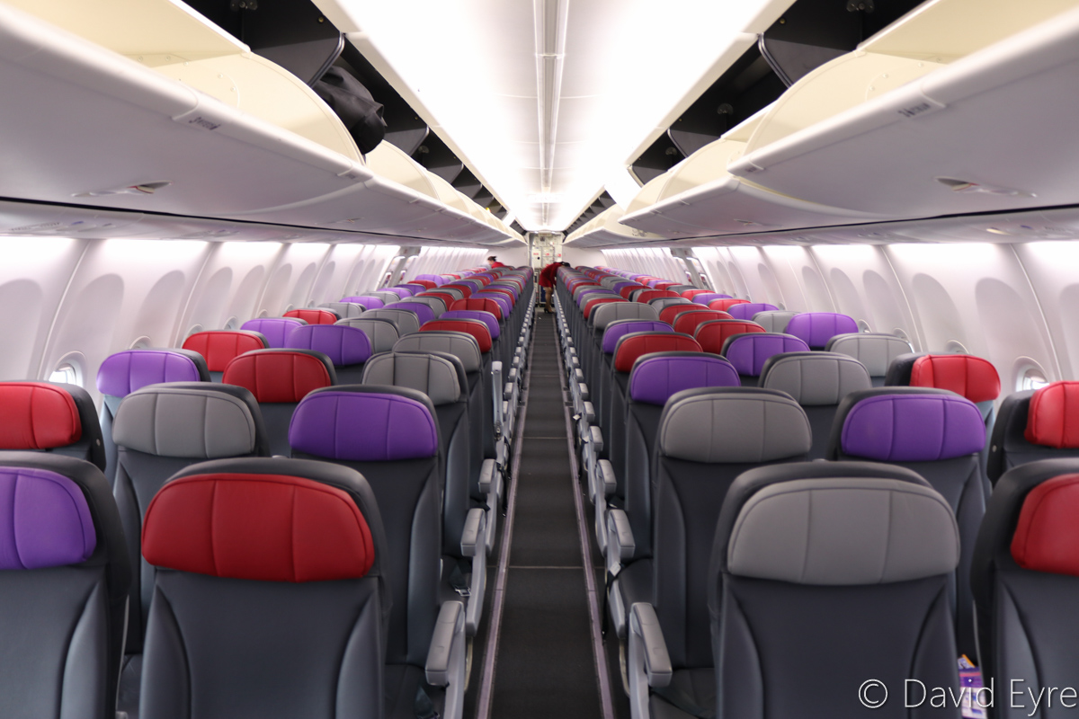 Economy Class cabin aboard VH-YFW Boeing 737-8FE (MSN 41037/5978) of Virgin Australia, named 'Turquoise Bay', at Kalgoorlie-Boulder Airport – Wed 22 March 2017. Photo © David Eyre
