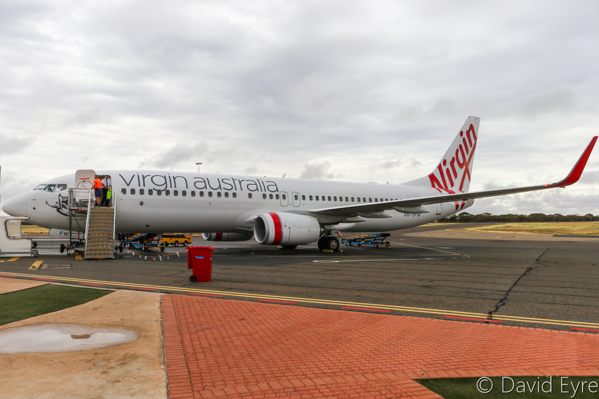 VH-YFW Boeing 737-8FE (MSN 41037/5978) of Virgin Australia, named 'Turquoise Bay', at Kalgoorlie-Boulder Airport – Wed 22 March 2017. After arrival as flight VA1849 from Perth, at 8:18am. Photo © David Eyre