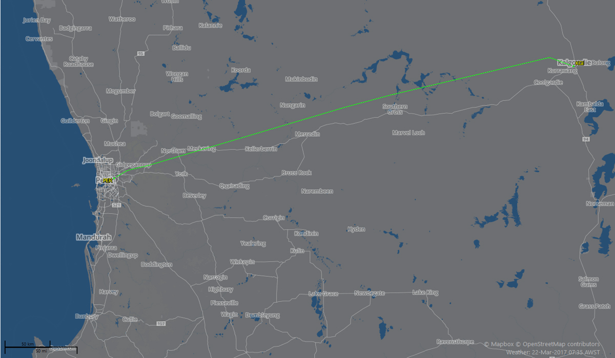 Route flown by VH-YFW Boeing 737-800 of Virgin Australia on flight VA1849 Perth to Kalgoorlie - 22 March 2017. Took off from Perth runway 06 at 7:16am, landed at Kalgoorlie runway 11 at 8:02am.