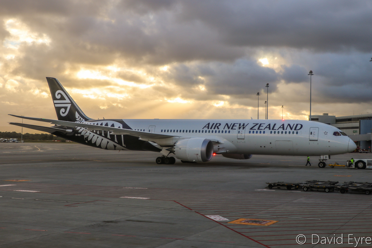 ZK-NZI Boeing 787-9 Dreamliner (MSN 37965/456) of Air New Zealand, at Perth Airport - Wed 22 March 2017. Flight NZ178 to Auckland, during pushback from Bay 150 at 6:59am for engine start. Seen from aboard VH-YFW Boeing 737-8FE of Virgin Australia, parked at Bay 149A. Photo © David Eyre