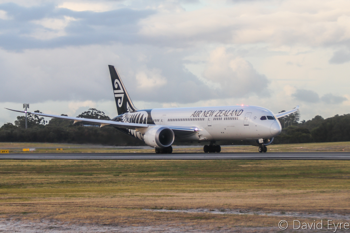 ZK-NZI Boeing 787-9 Dreamliner (MSN 37965/456) of Air New Zealand, at Perth Airport - Wed 22 March 2017. Flight NZ178 to Auckland, taking off from runway 03 at 7:12am. Seen from aboard VH-YFW Boeing 737-8FE of Virgin Australia, at the holding point on taxiway C6. Photo © David Eyre