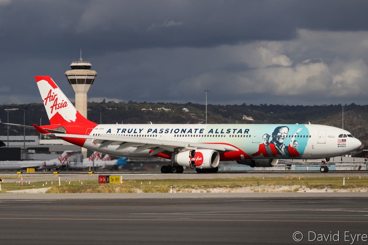 9M-XXH Airbus A330-343 (MSN 1165) of AirAsia X, named 'Spirit of AirAsia' in 'Anaz - The Legend: A Truly Passionate Allstar' livery at Perth Airport – Thu 23 March 2017. First visit to Perth wearing this special livery dedicated to their late AirAsia Group Chief Operating Officer, Anaz Ahmad Tajuddin. Flight D7232 from Kuala Lumpur is seen landing on runway 24 at 3:38 pm. Photo © David Eyre