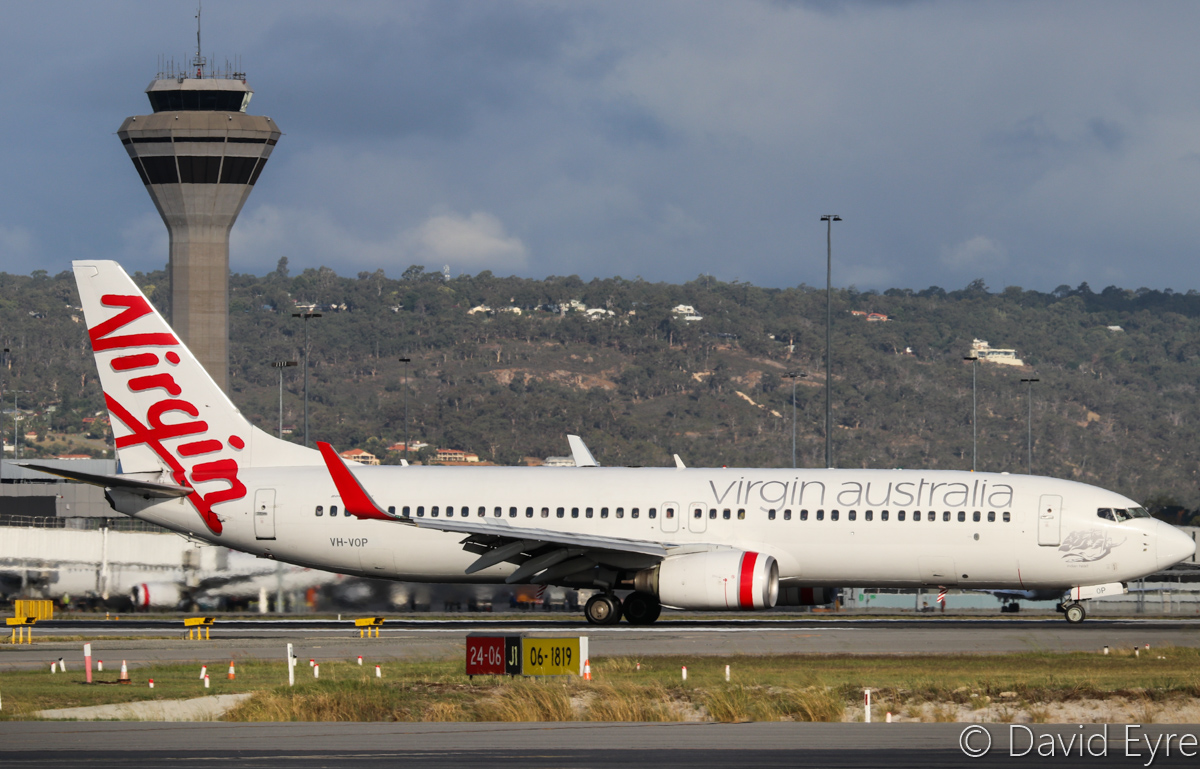 VH-VOP Boeing 737-8FE (MSN 33797/1389) of Virgin Australia, named 'Indian Head', at Perth Airport – Thu 23 March 2017. Flight VA1436 from Darwin, landing on runway 24 at 4:48pm. Photo © David Eyre