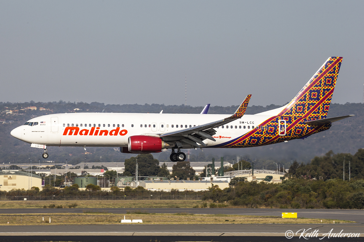 9M-LCC Boeing 737-800 (MSN 39836) of Malindo at Perth Airport – 31 March 2017.