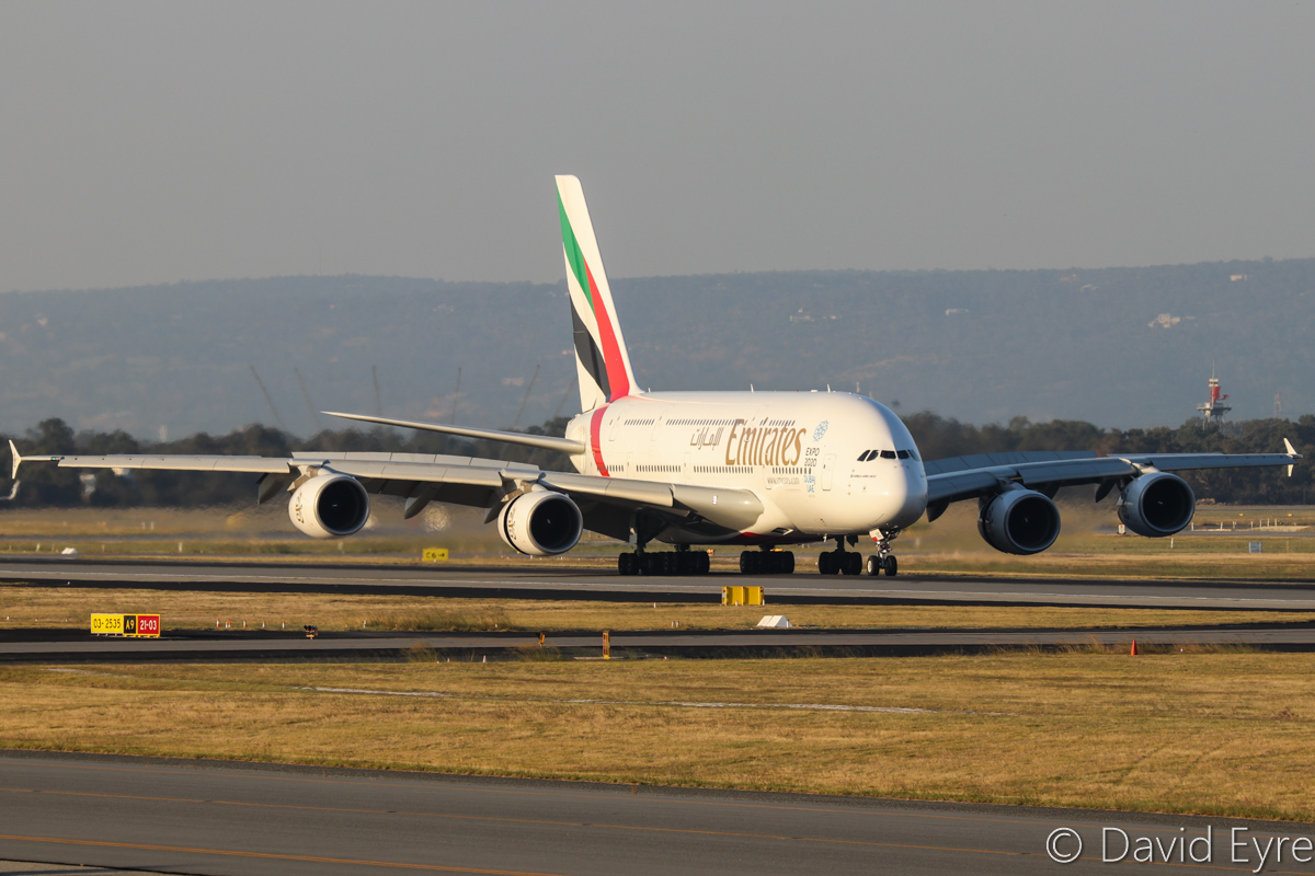 A6-EOC Airbus A380-861 (MSN 165) of Emirates, at Perth Airport - Fri 31 March 2017. Flight EK420 from Dubai landing on runway 21 at 5:18pm. Photo © David Eyre