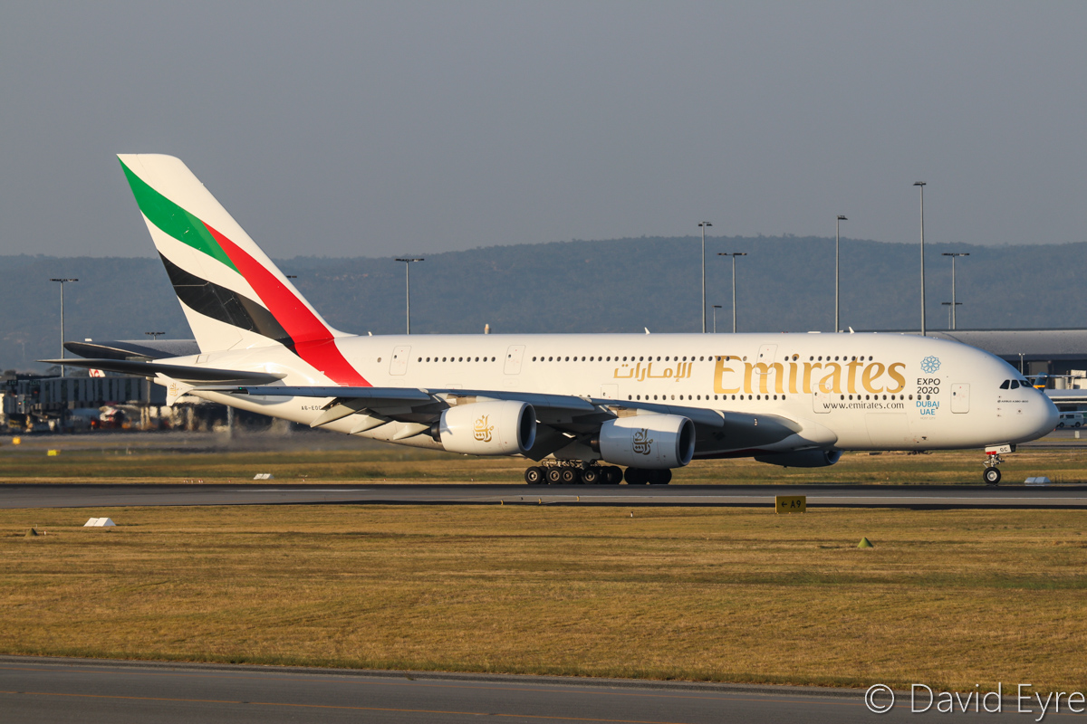 A6-EOC Airbus A380-861 (MSN 165) of Emirates, at Perth Airport - Fri 31 March 2017. Flight EK420 from Dubai, taxying off runway 21 after landing at 5:18pm. Photo © David Eyre