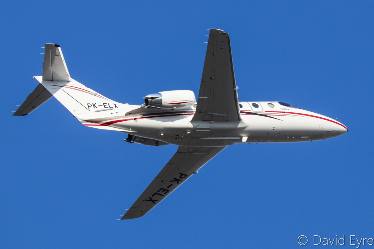 PK-ELX Beechcraft Beechjet 400A (MSN RK-194) owned by PT Elang Lintas Indonesia, at Perth Airport - Fri 31 March 2017. Seen after taking off from runway 21 at 4:30pm, en route to Port Hedland and Denpasar (Bali). The aircrafthad been undergoing maintenance at Perth and made a test flight the previous day. Elang Indonesia was established in 2014 and is based at Jakarta-Halim, providing jet charter and air ambulance services. Built in 1998, ex N909ST. Photo © David Eyre