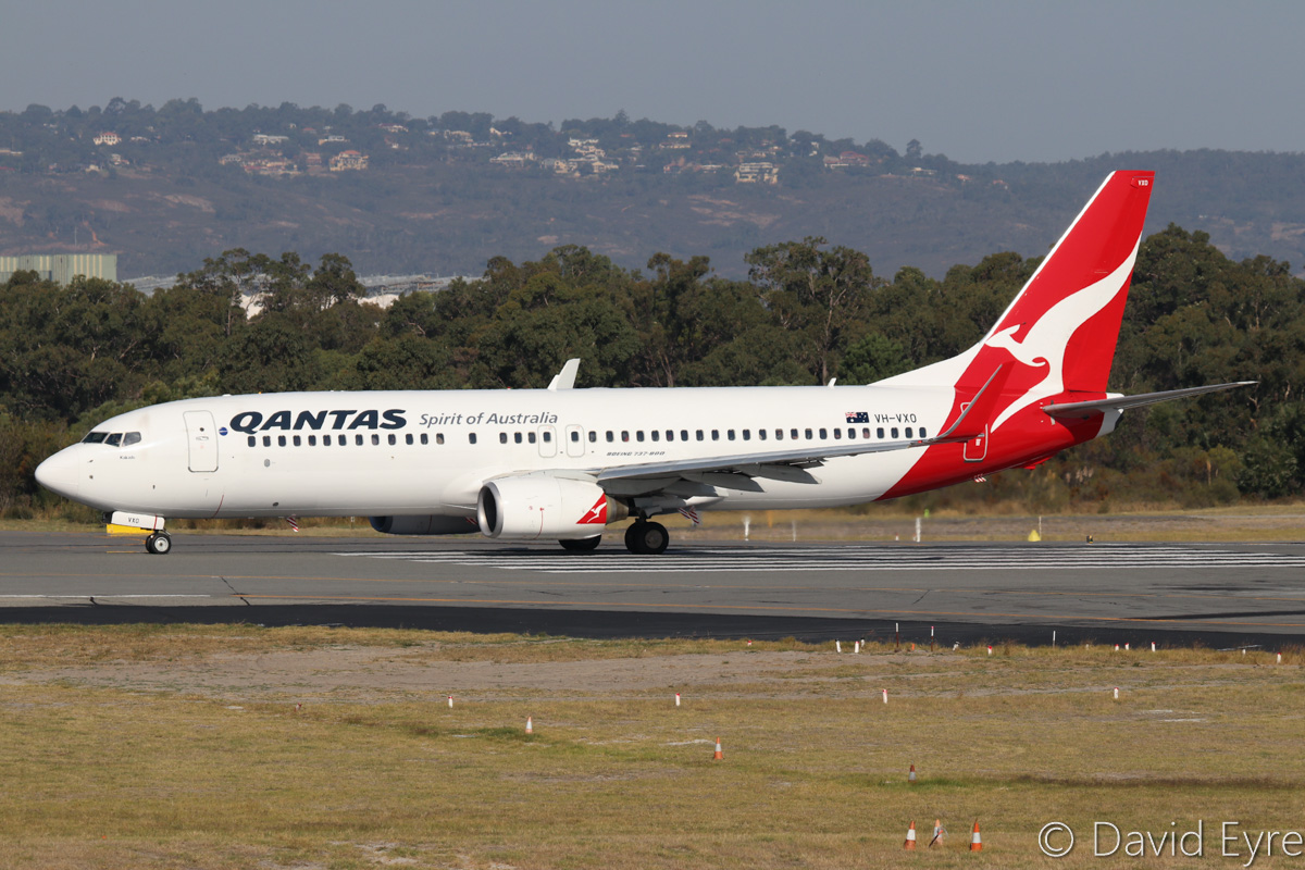"VH-VXO Boeing 737-838 (MSN 33485/1183) of Qantas, named ""Kakadu"", at Perth Airport - Fri 31 March 2017. Flight QF718 to Canberra, lined up on runway 03 for take-off at 3:42pm. This aircraft formerly wore ""Sharing the Spirit"" titles on the rear fuselage. Photo © David Eyre"