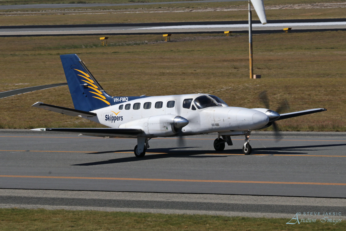 VH-FMQ Cessna 441 Conquest (MSN 4410109) of Skippers Aviation at Perth Airport - Sat 1 April 2017. Taxying to runway 03 for take-off at 2:16pm, for a flight to Broome. Photo © Steve Jaksic