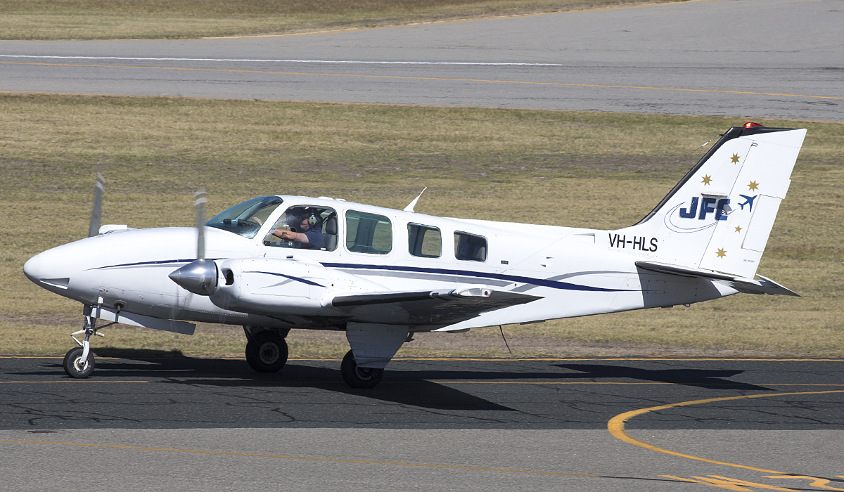 VH-HLS Beech Baron 58 (MSN TH-615, ex N44MM, N29MM, N44MH) owned by Jandakot Flight Centre, at Jandakot Airport – 8 April 2017.