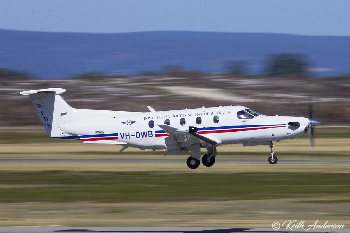 VH-OWB Pilatus PC-12/47E (cn 1104) of the Royal Flying Doctor Service (Western Operations) at Jandakot Airport – 8 April 2017.