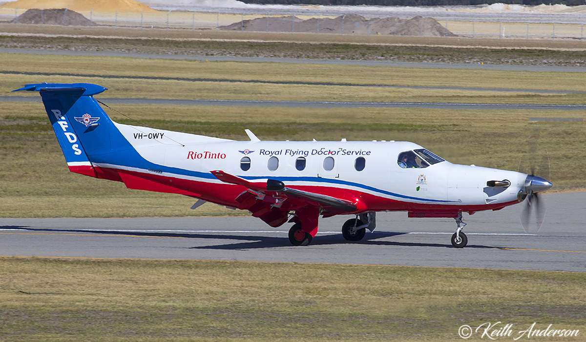 VH-OWY Pilatus PC-12/47E (MSN 1663, ex HB-FQD) of the Royal Flying Doctor Service (Western Operations) at Jandakot Airport – 8 April 2017.