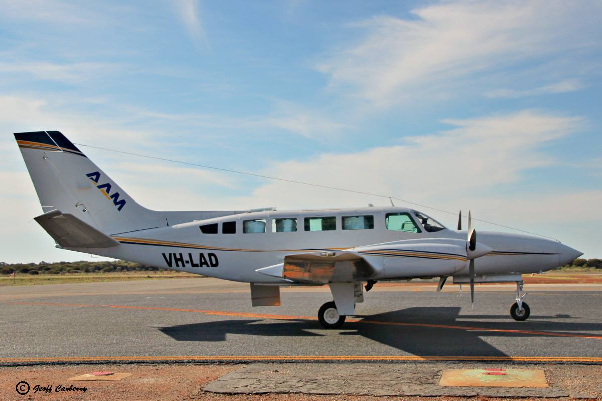VH-LAD Cessna 404 Titan (MSN 404-0224) owned by Australian Aerial Mapping (AAM) (Bayswater Road Pty Ltd), Spring Hill, QLD, at Meekatharra Airport - Sun 9 April 2017. Used for aerial survey. Built in 1978, ex 9V-BMT, B-12204, N88690. Photo © Geoff Carberry