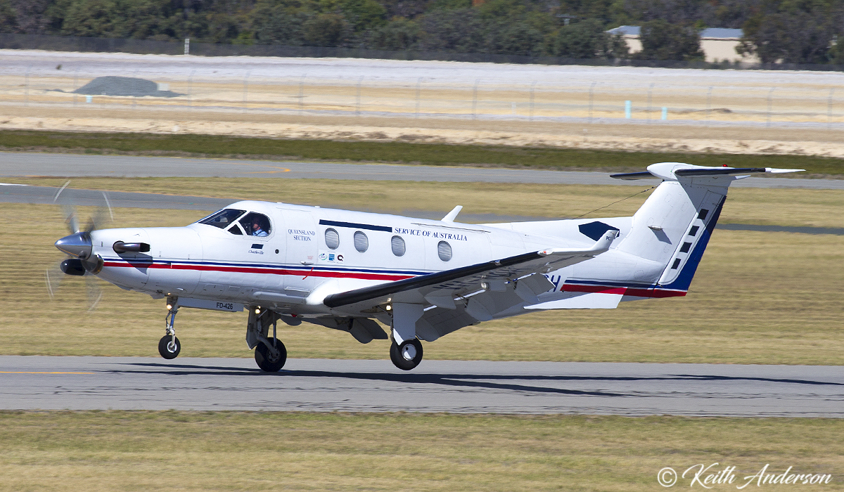 VH-NQH Pilatus PC12/45 (MSN 426) of Royal Flying Doctor Service (Queensland) at Jandakot Airport – 9 April 2017.