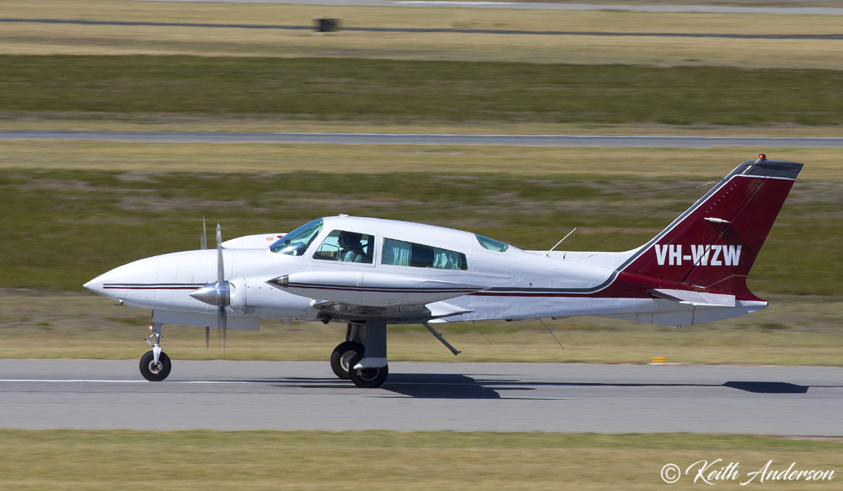 VH-WZW Cessna 310R (MSN 310R0719) owned by Geraldton Air Charter, Geraldton, at Jandakot Airport – 9 April 2017.
