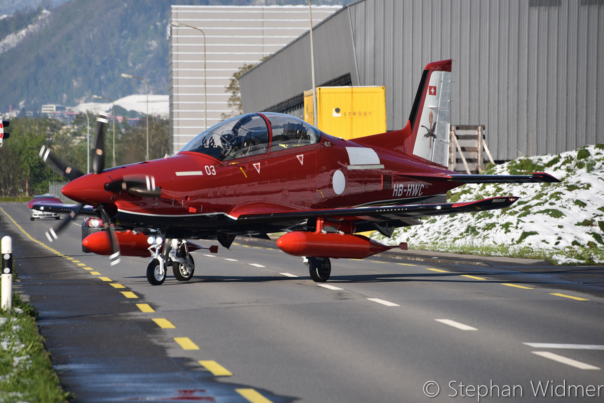 A54-003/HB-HWC Pilatus PC-21 (MSN 236) of the Royal Australian Air Force, in 2 Flying Training School markings, at Stans, Switzerland - Sat 29 April 2017. Departing the Pilatus Aircraft facility at Stans, Switzerland on its delivery flight to Australia, in company with A54-004/HB-HWD. Photo © Stephan Widmer