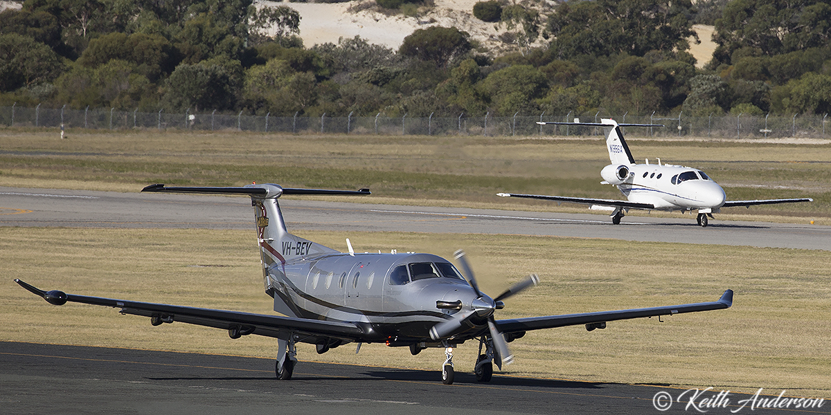 VH-BEV Pilatus PC-12/47E (MSN 1308) operated by Milbrae Quarries P/L, Leeton, NSW at Jandakot Airport – 9 April 2017.