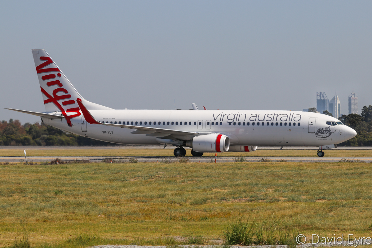 VH-VUV Boeing 737-8FE (MSN 34015/1594) of Virgin Australia, named 'Binalong Bay', at Perth Airport - Wed 5 April 2017. Flight VA464 from Brisbane, taxying along taxiway C to Terminal 1 Domestic, after landing on runway 21 at 11:56am. Photo © David Eyre