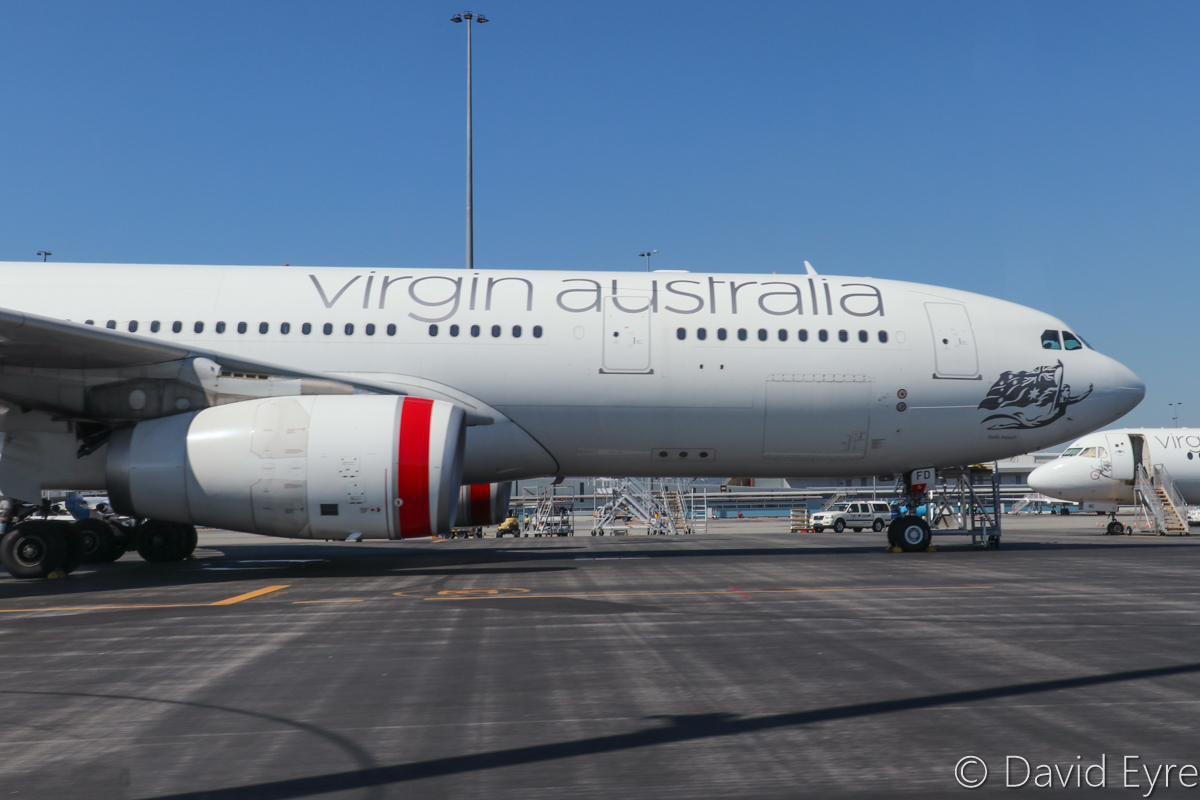 VH-XFD Airbus A330-243 (MSN 1306) named 'Bells Beach'. of Virgin Australia at Perth Airport - Wed 5 April 2017. Parked near Terminal 2. Engines are two Rolls-Royce Trent 772B-60. Photo © David Eyre
