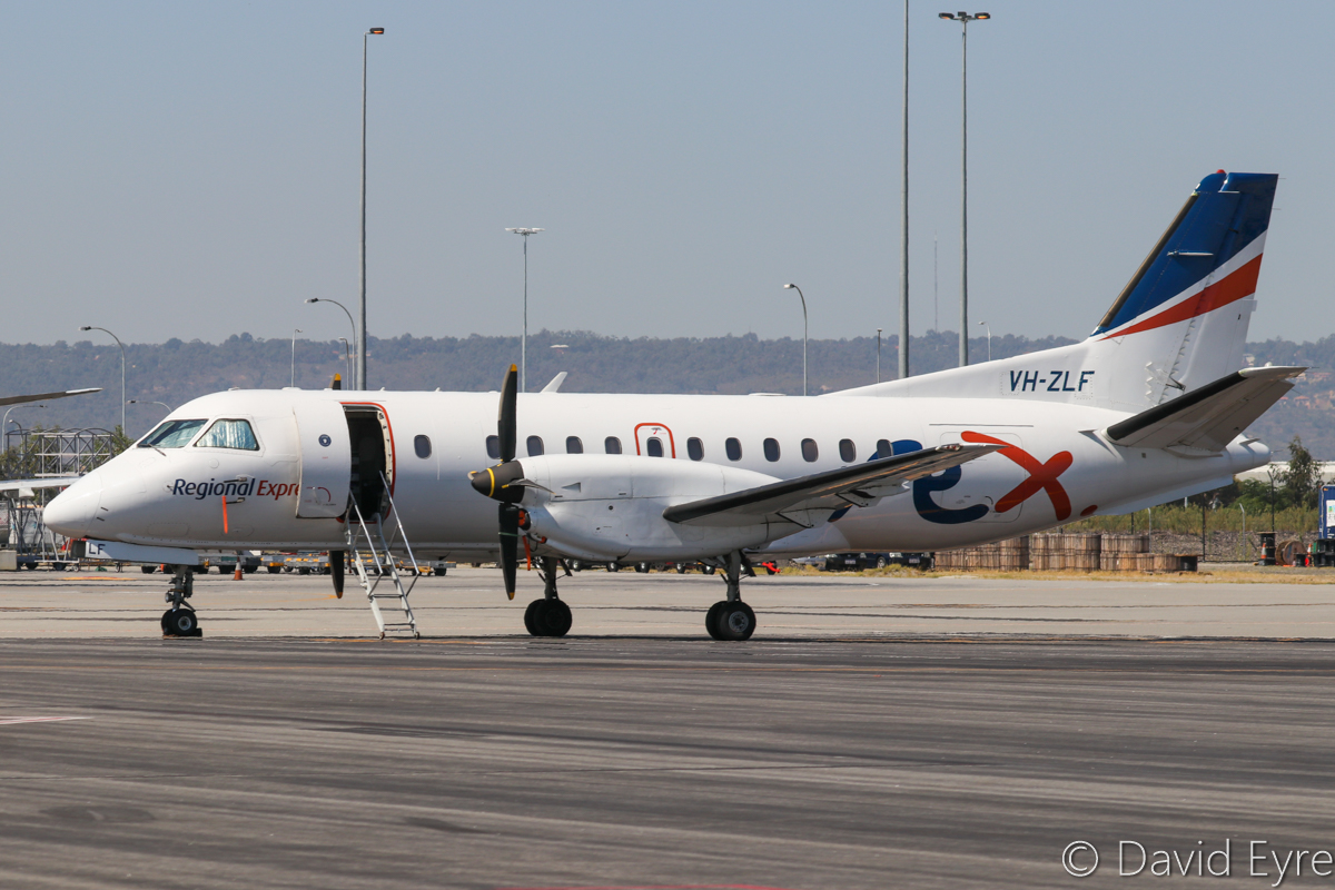 VH-ZLF SAAB 340B (MSN 340B-374) of Regional Express (Rex), at Perth Airport - Wed 5 April 2017. Parked near Terminal 2. Photo © David Eyre