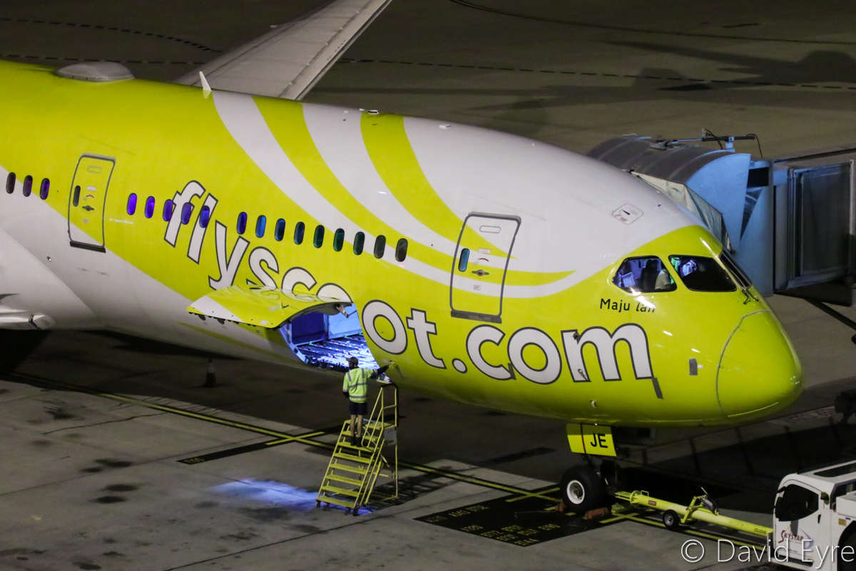 9V-OJE Boeing 787-9 Dreamliner (MSN 37116/316) of Scoot, named 'Maju-Lah', at Perth Airport – Thu 6 April 2017. Flight TZ8 from Singapore, which arrived 5 hours late at 10:15pm, seen here parked at Bay 155 at 10:23pm. Photo © David Eyre