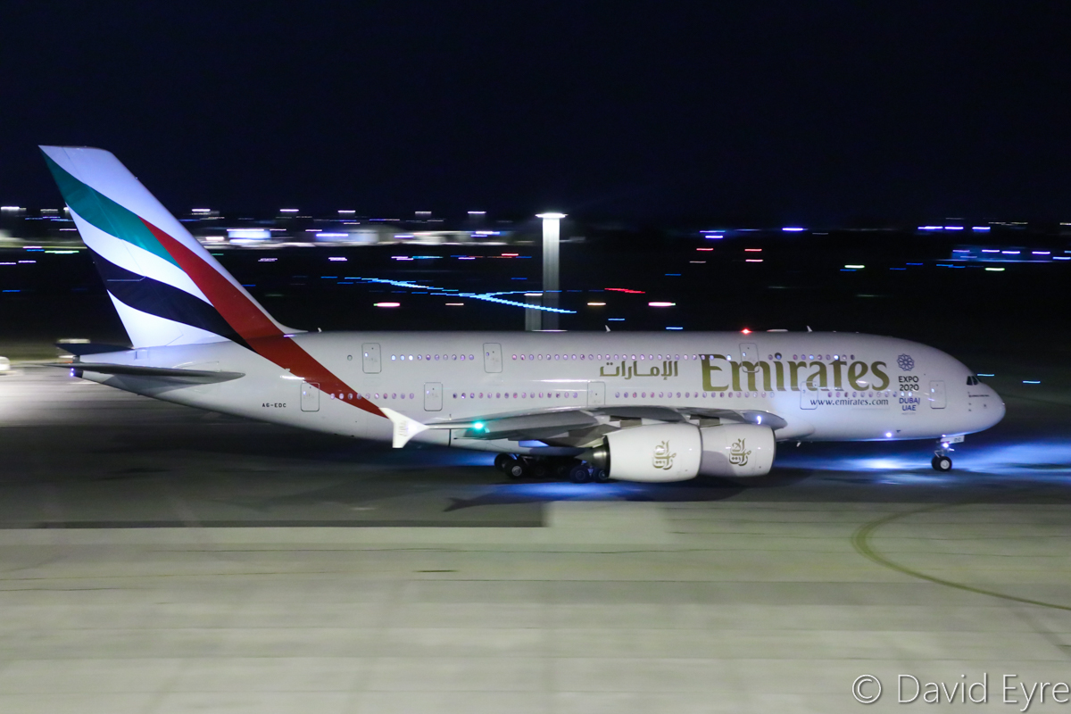 A6-EDC Airbus A380-861 (MSN 016) of Emirates, at Perth Airport - Thu 6 April 2017. Flight EK421 to Dubai, taxying out to runway 21 at 10:18pm. Photo © David Eyre