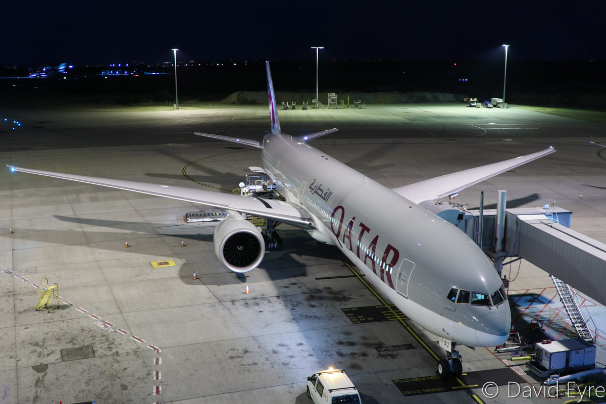 A7-BAJ Boeing 777-3DZ ER (MSN 36096/851) of Qatar Airways, named 'Al-Ruwais' at Perth Airport - Thu 6 April 2017. Flight QR901 to Doha, parked at Bay 153 at 10:25pm, preparing for departure. Photo © David Eyre