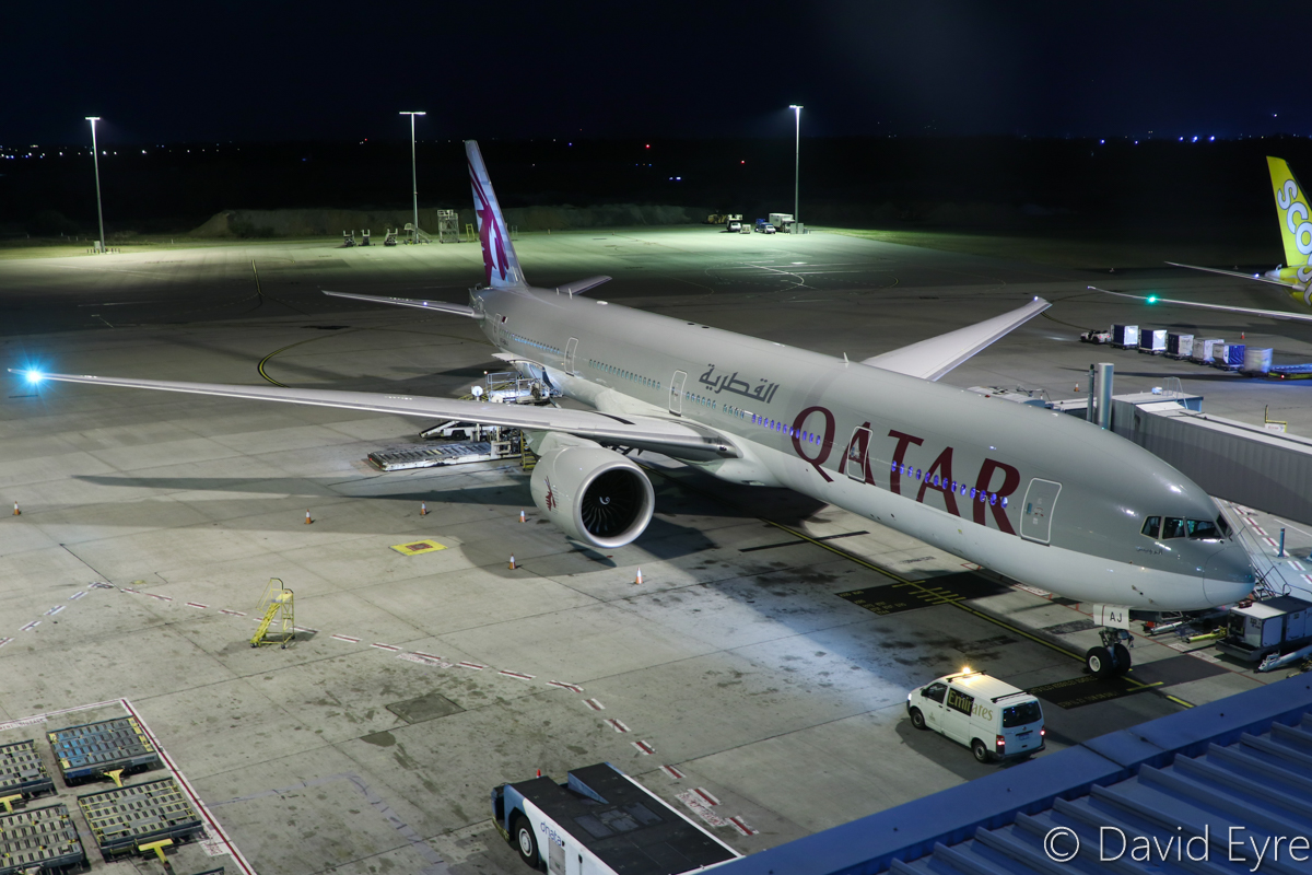 A7-BAJ Boeing 777-3DZ ER (MSN 36096/851) of Qatar Airways, named 'Al-Ruwais' at Perth Airport - Thu 6 April 2017. Flight QR901 to Doha, parked at Bay 153 at 10:30pm, preparing for departure. Photo © David Eyre