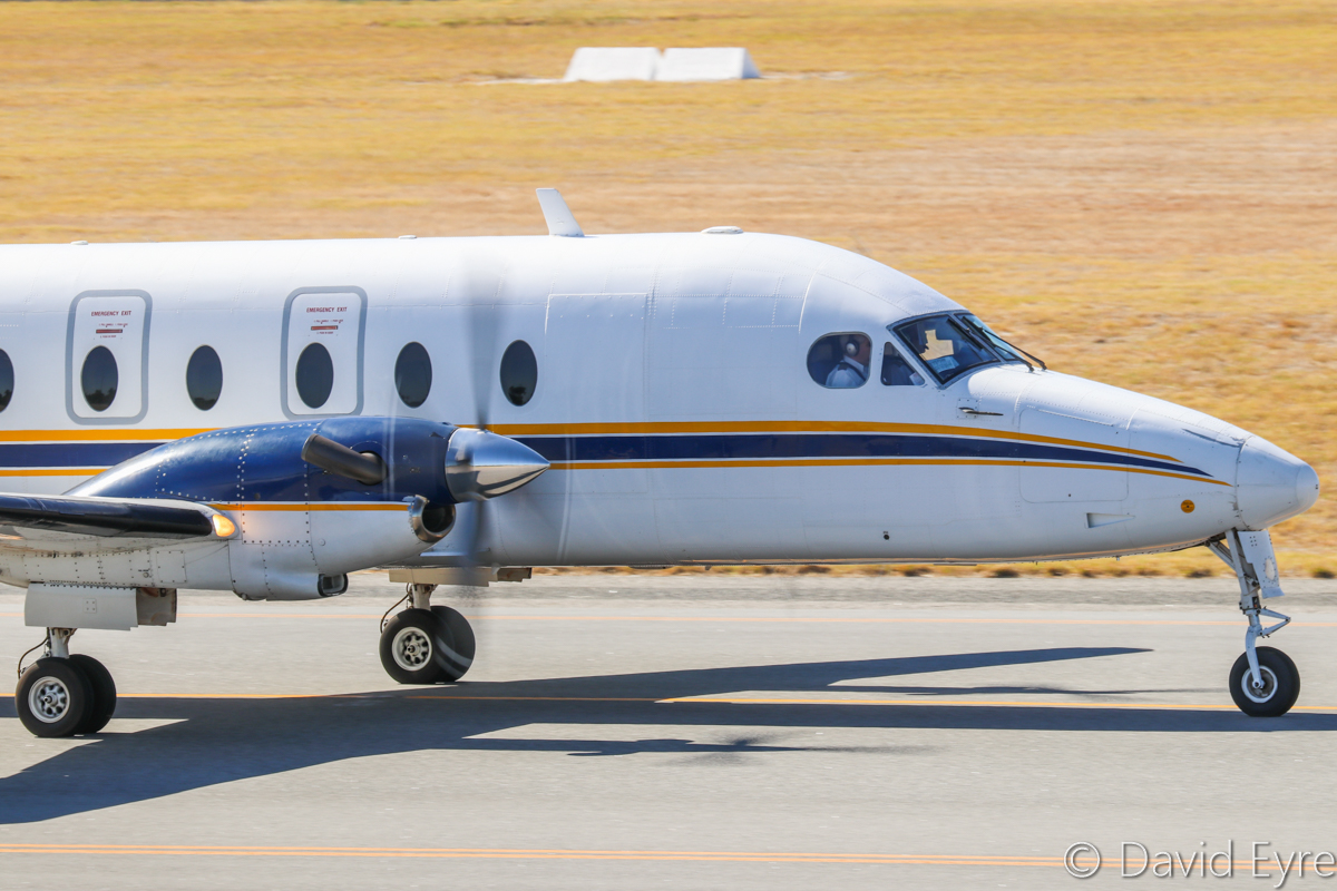 VH-EKG Beech 1900D (MSN UE-135, ex N135YV, ZS-SSY) owned by Shine Aviation, of Geraldton, WA, at Perth Airport – 24 April 2017. Taxying for a runway 03 departure to Geraldton at 10:54am. Photo © David Eyre