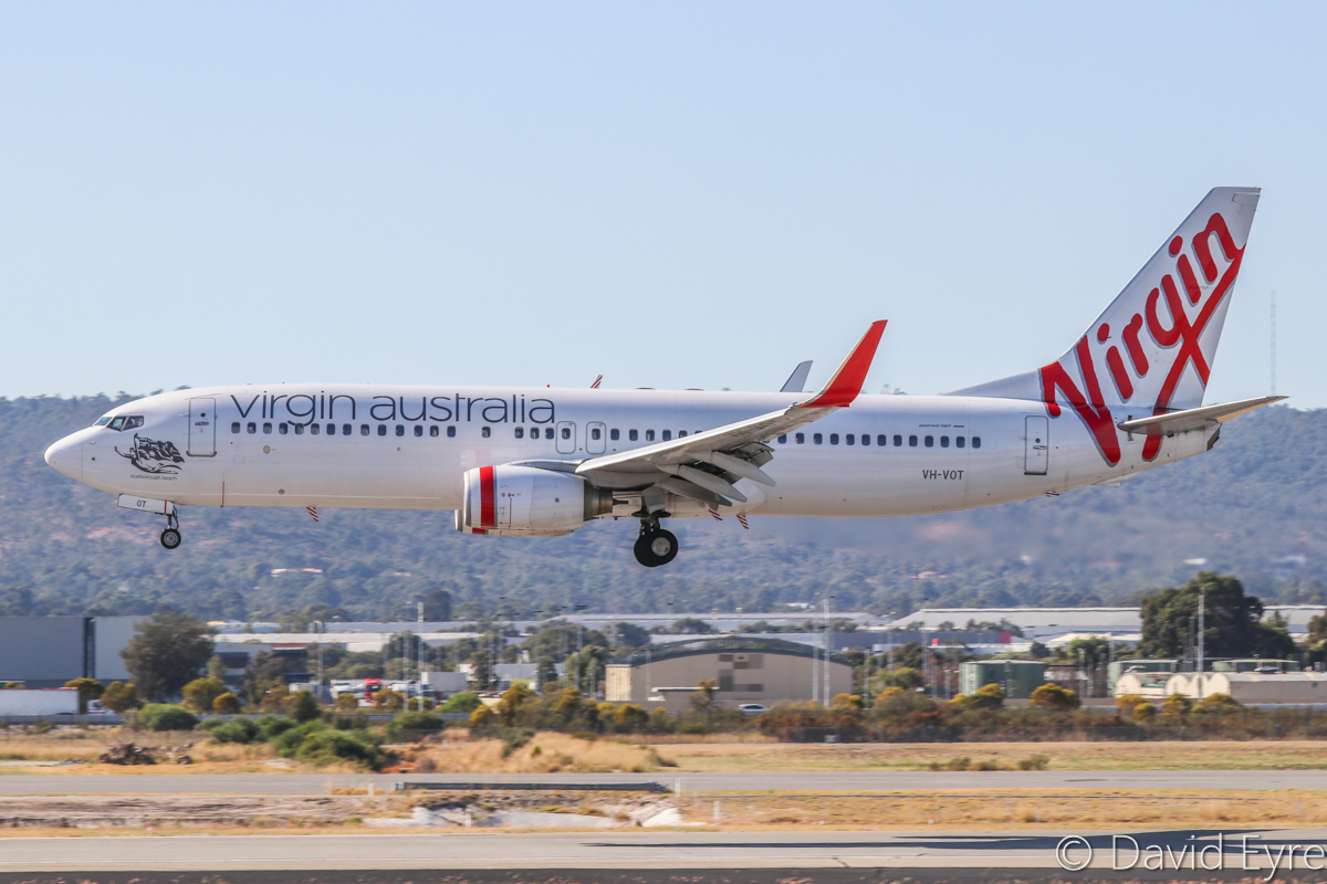VH-VOT Boeing 737-8FE (MSN 33801/1504) of Virgin Australia, named 'Scarborough Beach', at Perth Airport – Mon 24 April 2017. Flight VA1852 from Kalgoorlie, landing on runway 03 at 9:47am. Photo © David Eyre