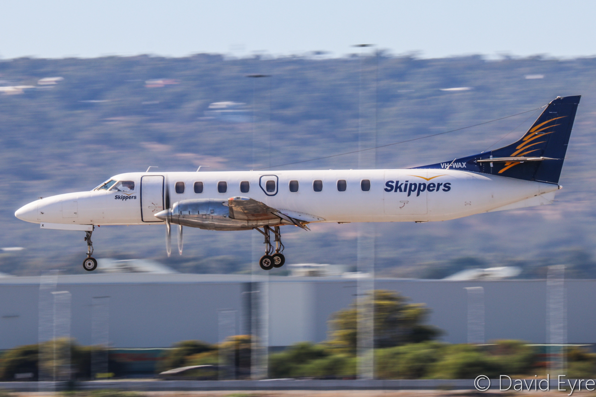 VH-WAX Fairchild SA227-DC Metro (MSN DC-788B) of Skippers Aviation at Perth Airport – 24 April 2017. Landing on runway 03 at 10:11am on a FIFO flight from Forrestania nickel mine. Photo © David Eyre
