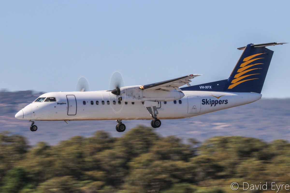 VH-XFX De Havilland Canada DHC-8-314 Dash 8 (MSN 313) of Skippers Aviation, at Perth Airport - 24 April 2017. Landing on runway 03 at 10:19am on a FIFO flight from Duketon Gold mine. Photo © David Eyre