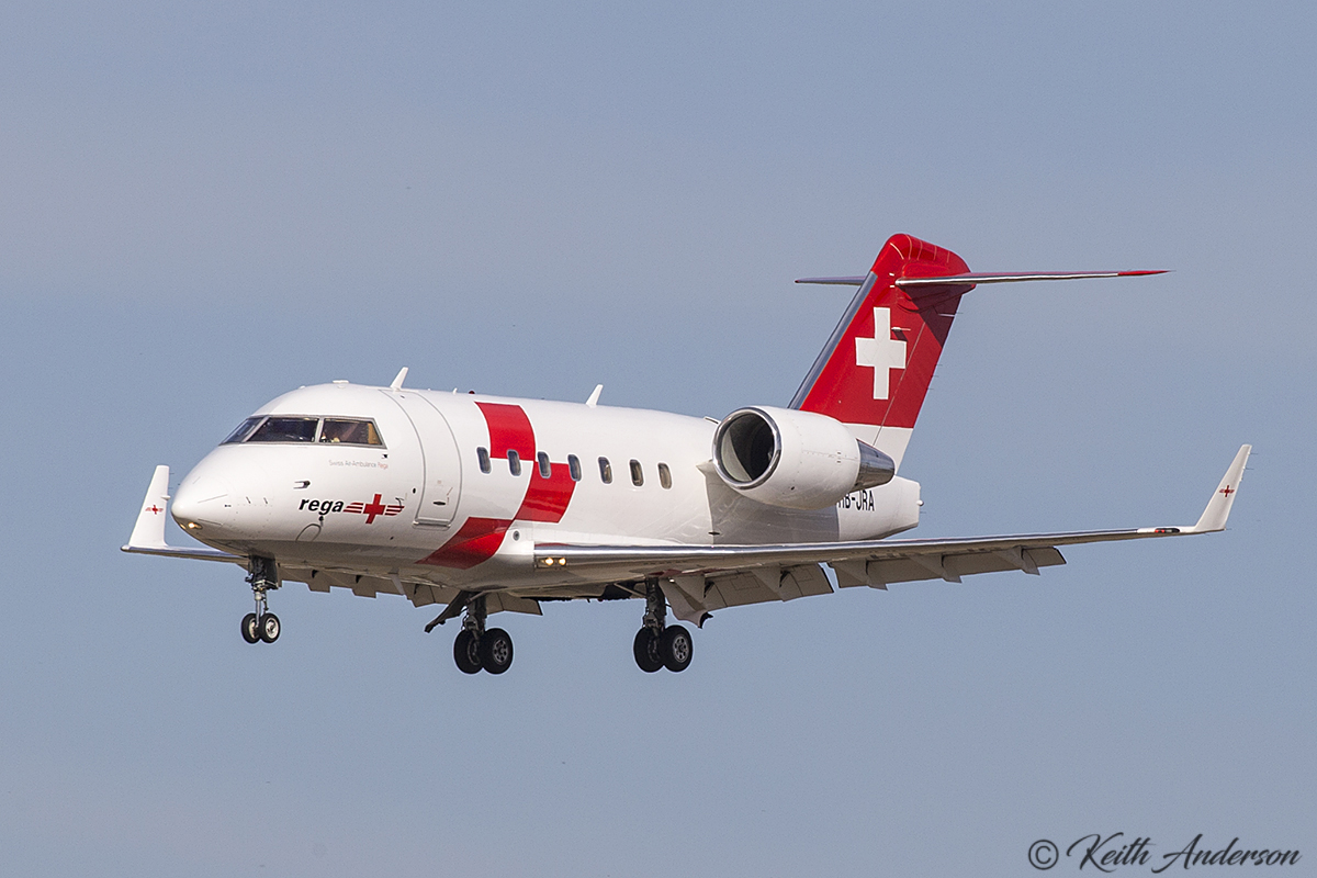 HB-JRA Bombardier Challenger 604 (MSN 5529) of Swiss Air Ambulance at Perth Airport – 3 May 2107.