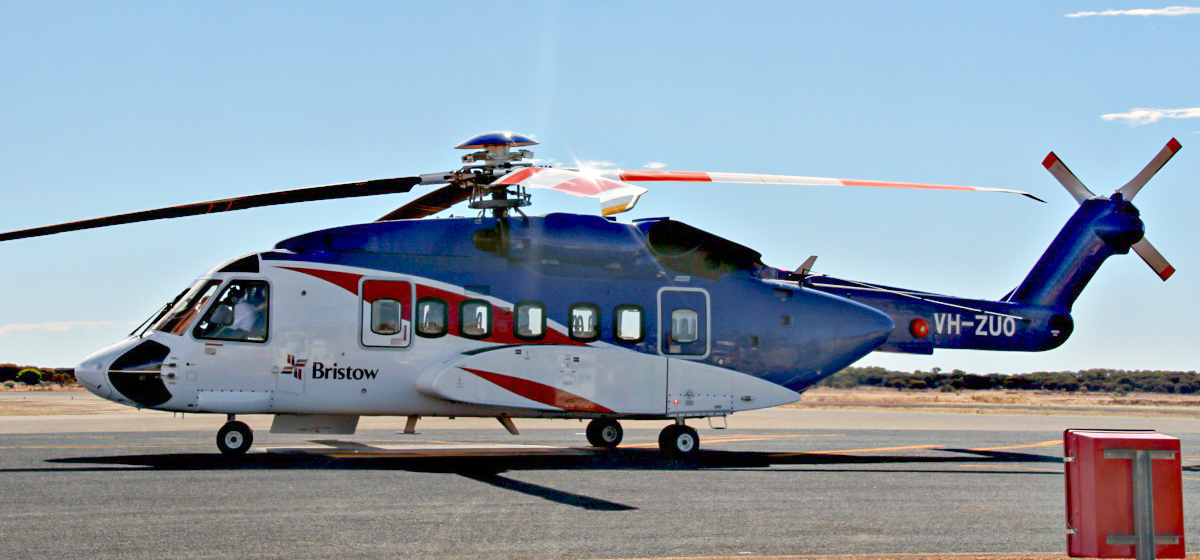 VH-ZUO Sikorsky S-92A Helibus (MSN 920203) of Bristow Helicopters Australia, at Meekatharra Airport - 19 May 2017. Refuelling stop en route from Perth-Meekatharra-Newman-Broome. Built in 2013, ex N203Y. Photo © Geoff Carberry