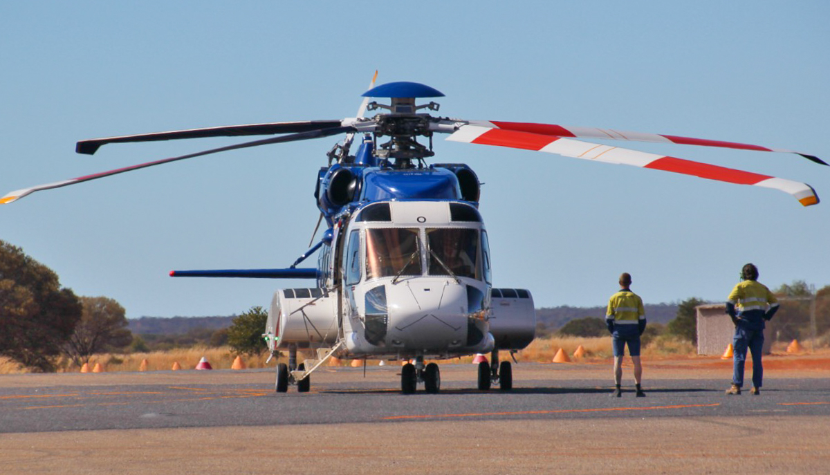 VH-ZUO Sikorsky S-92A Helibus (MSN 920203) of Bristow Helicopters Australia, at Meekatharra Airport - 19 May 2017. Refuelling stop en route from Perth-Meekatharra-Newman-Broome, after maintenance in Perth. Built in 2013, ex N203Y. Photo © Geoff Carberry