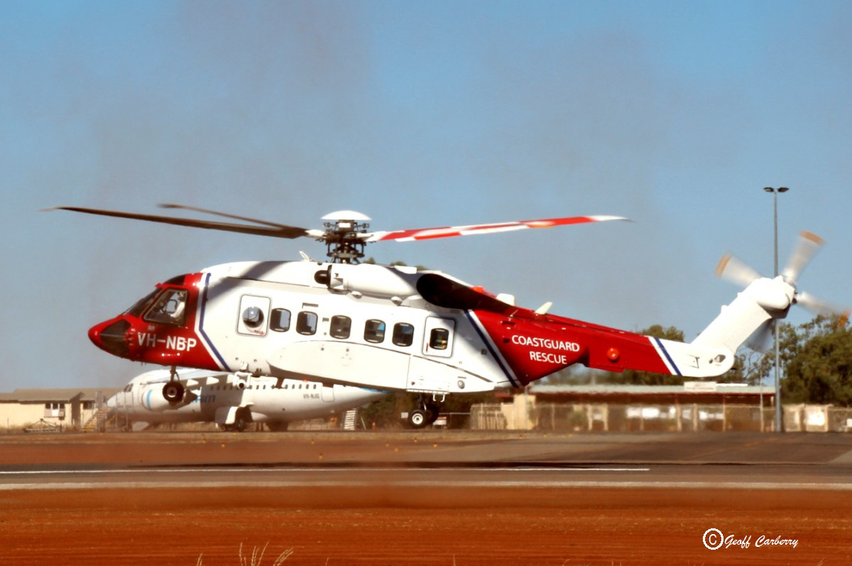 VH-NBP Sikorsky S-92A Helibus (MSN 920259) of Bristow Helicopters Australia, at Meekatharra Airport - 25 May 2017. Refuelling stop en route from Broome-Newman-Meekatharra-Perth. The helicopter has been sold to the Irish Coast Guard, and will be shipped to Ireland, to replace an S-92 which crashed in March 2017. Built in 2015, ex N259CV. Photo © Geoff
