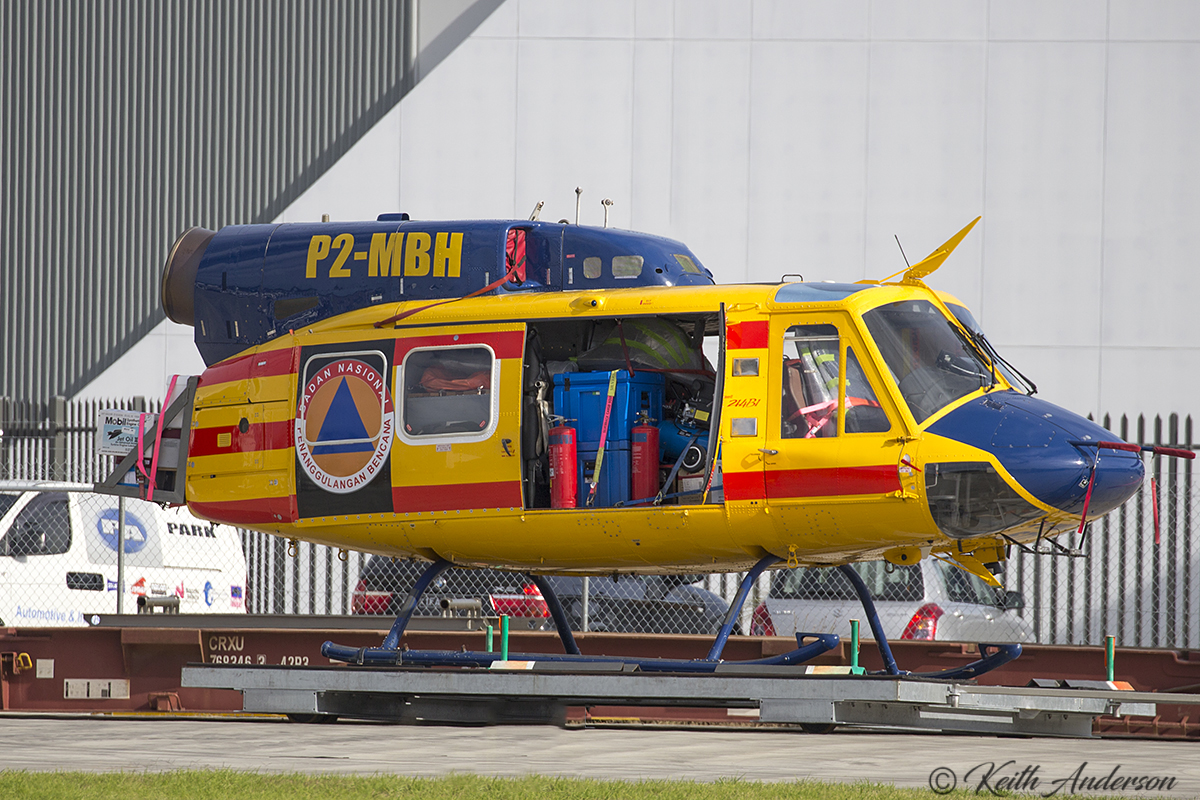 P2-MBH Bell 214B-1 (MSN 28063) Helitac owned by McDermott Aviation at Jandakot Airport – 30 May 2017.