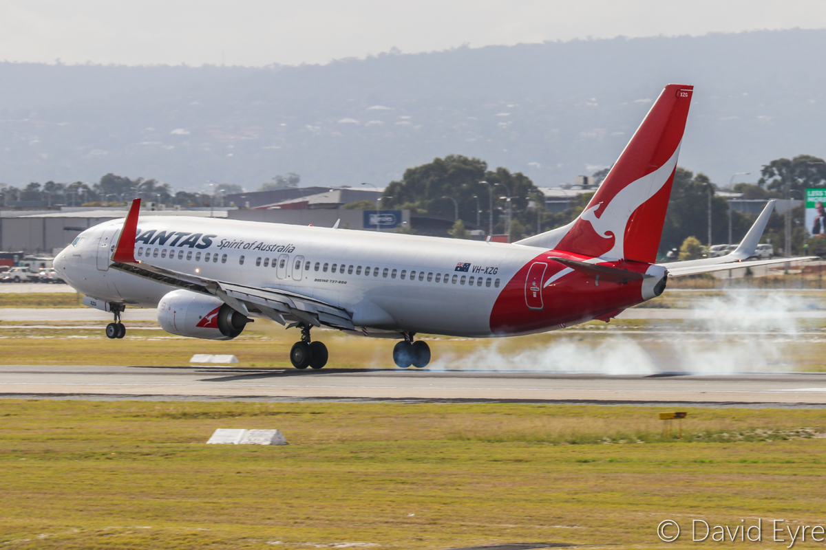 "VH-XZG Boeing 737-838 (MSN 39371/4477) of Qantas, named ""Bungendore"" at Perth Airport – 22 May 2017. QF1061 from Kalgoorlie, landing on runway 03 at 10:48am. Photo © David Eyre"