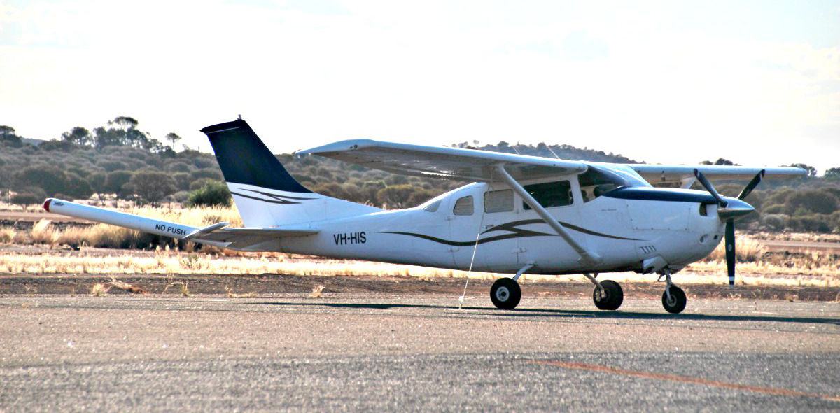VH-HIS Cessna U206G Stationair (MSN U20606348) owned by VH-HIS Pty Ltd, at Meekatharra Airport - 27 May 2017. Modified for geophysical survey work with a magnetometer 'stinger' tailboom, in the area for survey activities. Built in 1981, ex N6621Z. Photo © Geoff Carberry