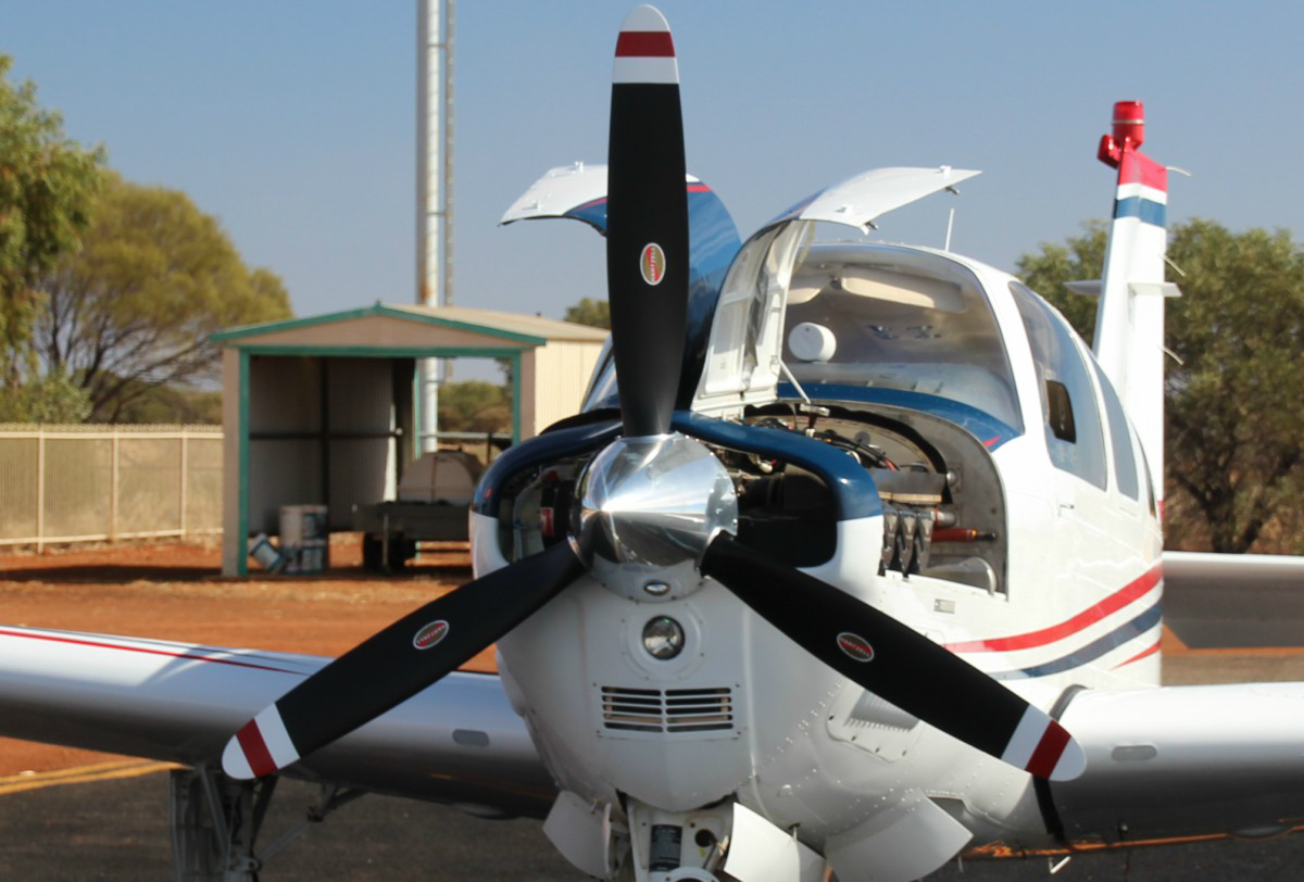 VH-KDT Beech Bonanza G36 (MSN E-3775) owned by Deejay Nominees Pty Ltd, as trustee for J.W. & J.M. Durack Family Trust, at Meekatharra Airport - 28 May 2017. Fuel stop, en route from Broome to Jandakot. Built in 2007, ex N3775X. Photo © Geoff Carberry