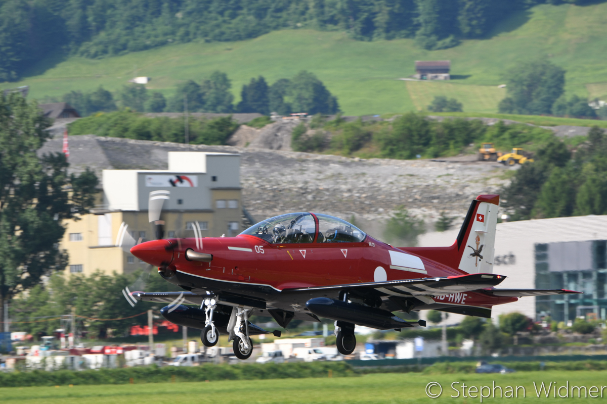 HB-HWE/A54-005 Pilatus PC-21 (MSN 238) of the Royal Australian Air Force, in 2 Flying Training School markings, at Stans, Switzerland - Fri 2 June 2017. Departing the Pilatus Aircraft facility at Stans, Switzerland on its delivery flight to Australia, in company with HB-HWF/A54-006 (MSN 239). Photo © Stephan Widmer