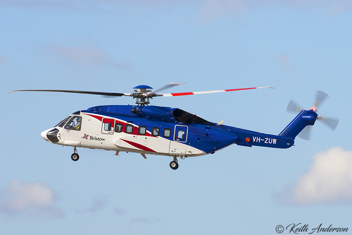 VH-ZUW Sikorsky S-92A (MSN 920221) of Bristow Helicopters at Perth Airport – 2 June 2017.