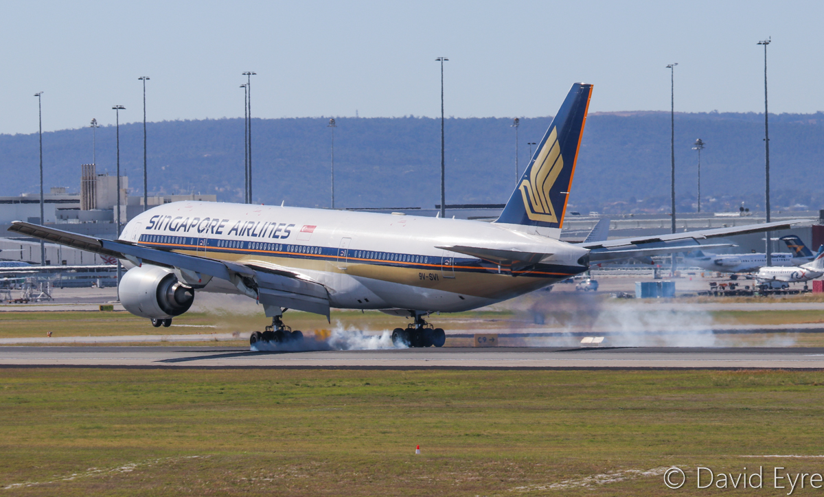 9V-SVI Boeing 777-212ER (MSN 32316/412) of Singapore Airlines, at Perth Airport - 6 June 2017. Flight SQ213 from Singapore, landing on runway 03 at 12:35pm. Photo © David Eyre