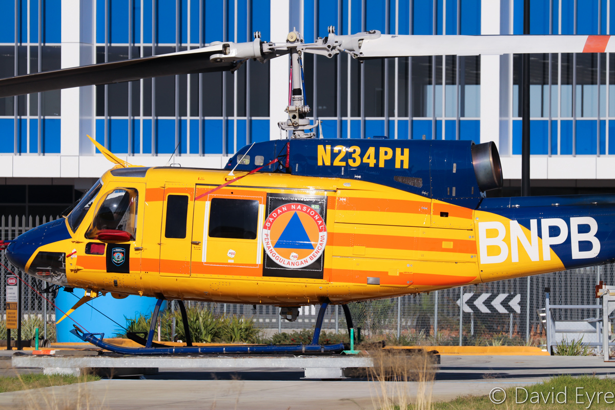 N234PH Bell 214B-1 BigLifter (MSN 28050) of McDermott Aviation, with Badan Nasional Penanggulangan Bencana (BNPB) titles (Indonesian National Board for Disaster Management), at Jandakot Airport – 6 June 2017. During summer months, this helicopter is operated for the WA Department of Fire and Emergency Services, for firefighting. Built in 1977. Ex N5750L, N234PH, 756 (Royal Air Force of Oman), VH-LYH. Photo © David Eyre